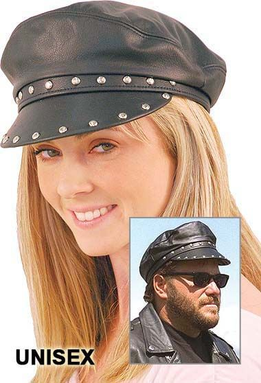 Unisex black leather biker cap with studs. Features a soft nylon lining 3eb140f9194