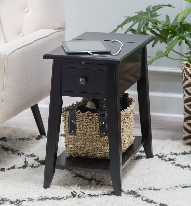 Black End Table With Usb Ports And Power Outlets Tools For