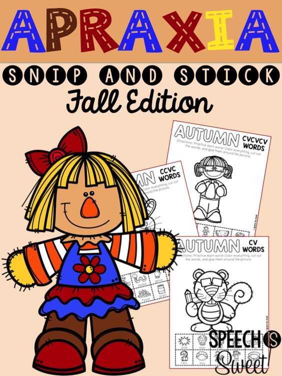 Fall Apraxia Snip and Stick - cv words