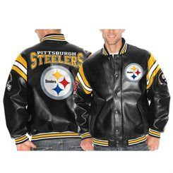 new style df7fe 935df Pittsburgh Steelers Black Pick Six Faux Leather Jacket ...