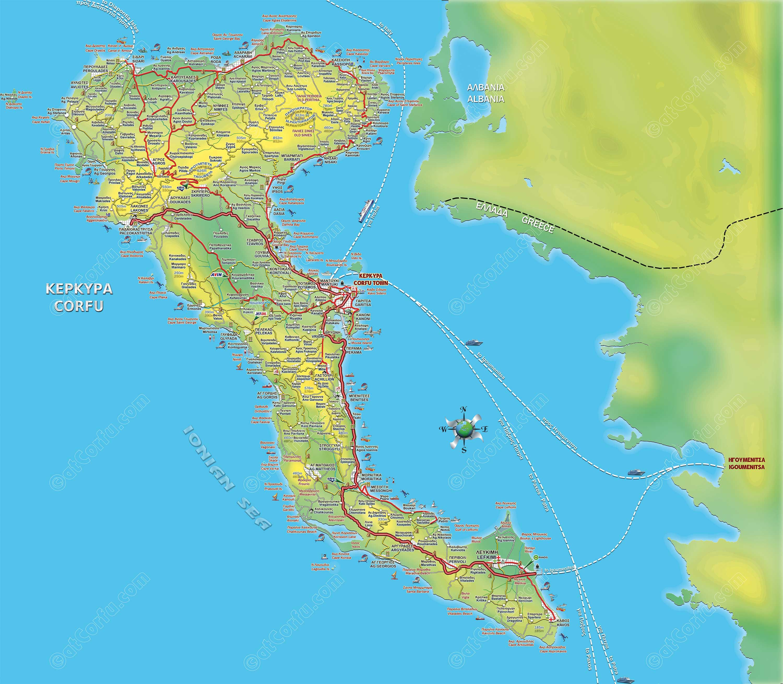Corfu map greece trip of a lifetime pinterest corfu corfu corfu map gumiabroncs Gallery