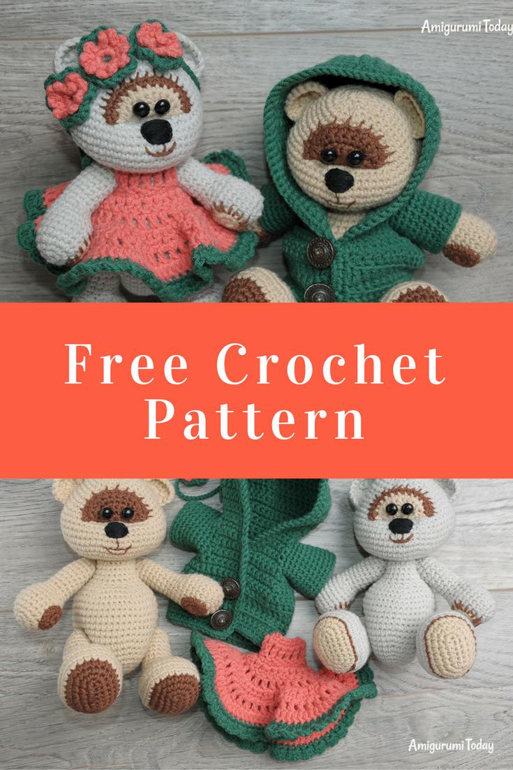 Honey teddy bears in love: crochet pattern | Crochet bear, Crochet ... | 1102x735