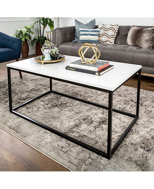 Faux Marble Round Coffee Table: 42 Mixed Material Coffee Table - Marble In 2019