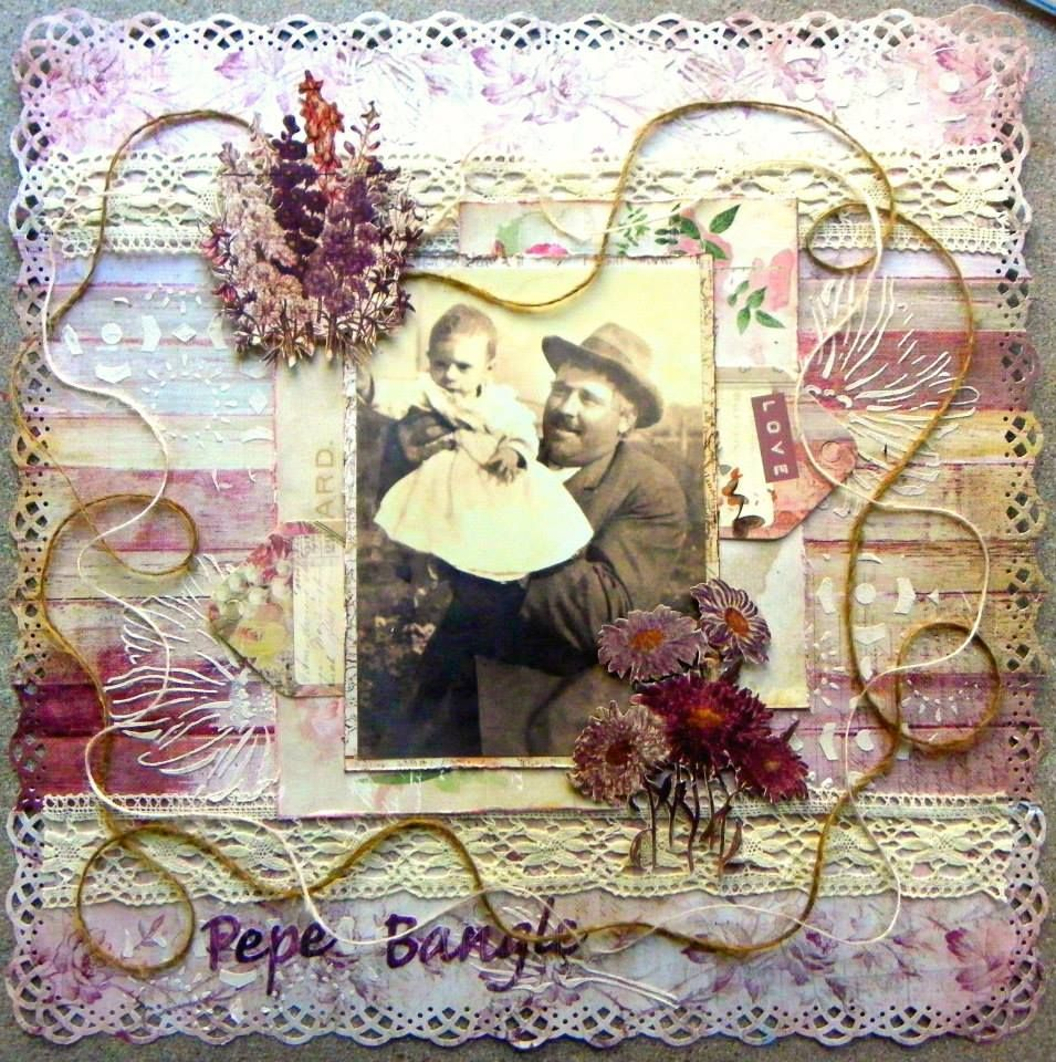 Scraps Of Elegance scrapbook kit club - Lynne Joncas created this fabulous heritage layout using the Scraps Of Elegance Lynne's Garden Terrrace kit. You can find our kits at www.scrapsofdarkness.com