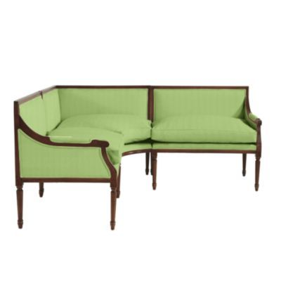 Louis 3 Piece Sectional In Solid Green Sunbrella By Ballard Designs  (various Other Fabrics Available