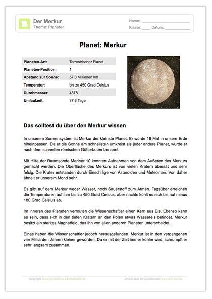 Arbeitsblatt: Lesetext - Planet Merkur