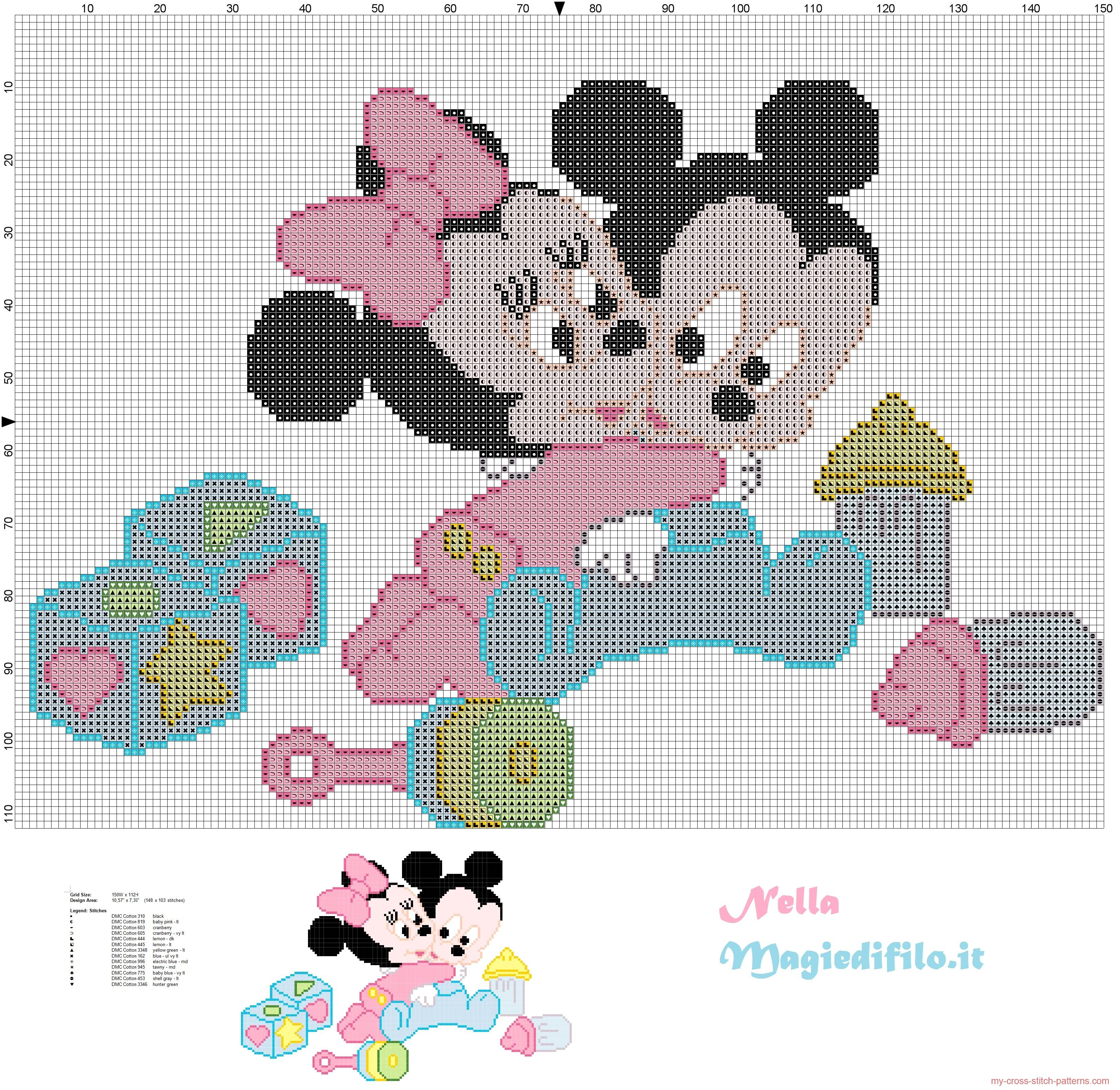 Baby Mickey and Minnie Mouse | ... : Cross stitch pattern Baby ...