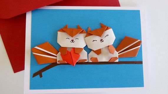 Squirrel Card Anniversary Card Pop Up Card Wedding Birthday Card