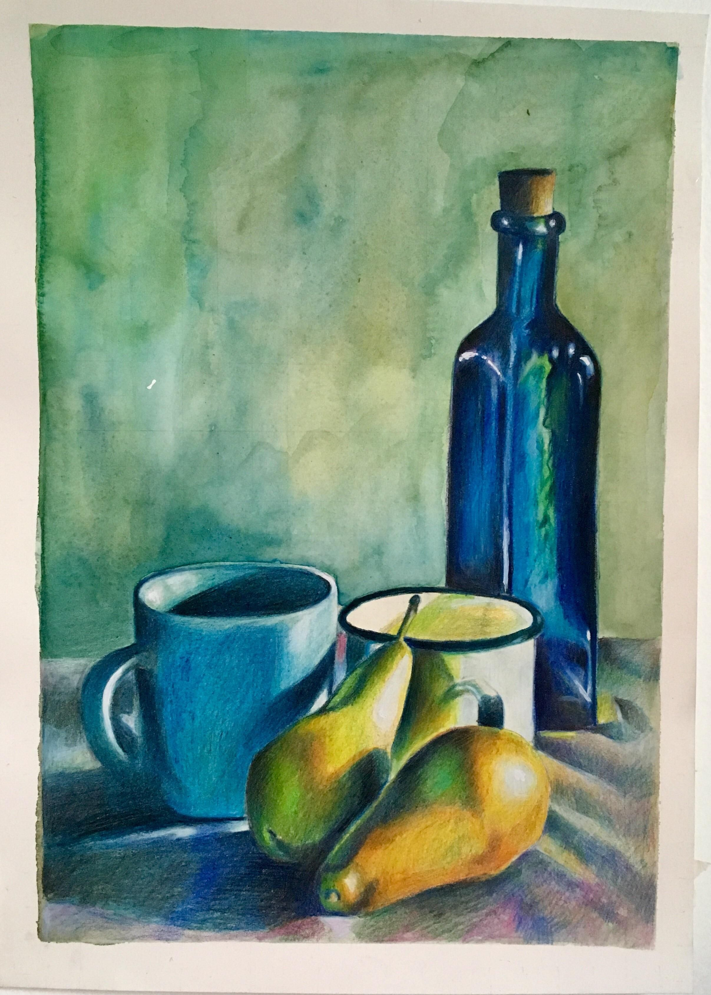Still Life With Pears Coloured Pencil 10x14 Still Life Drawing Easy Still Life Drawing Colorful Drawings
