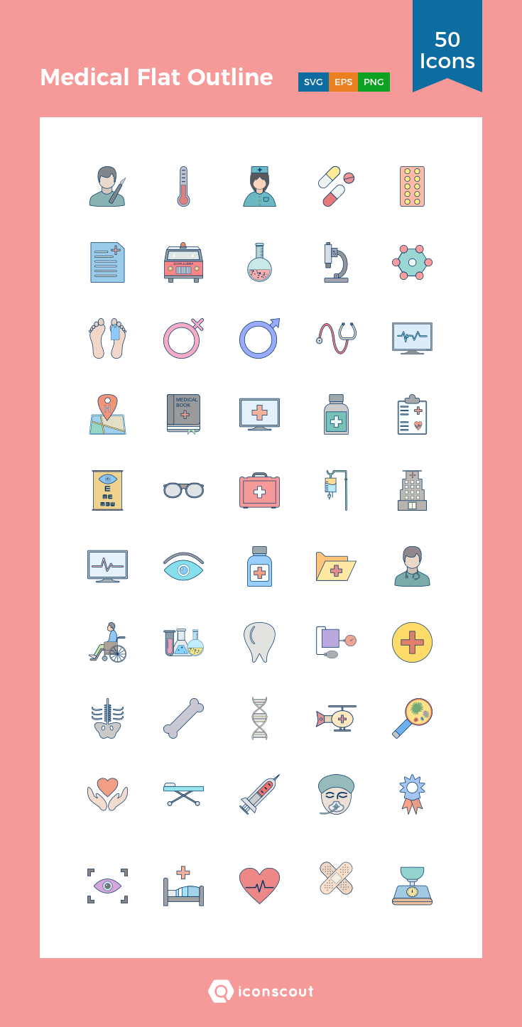 Download Medical Flat Outline Icon pack Available in SVG