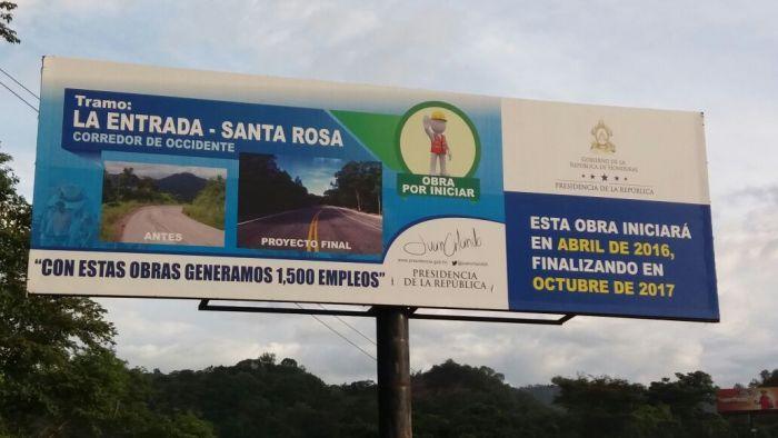 Publicidad del Gobierno de Honduras se contradice en tramo carretero a Occidente