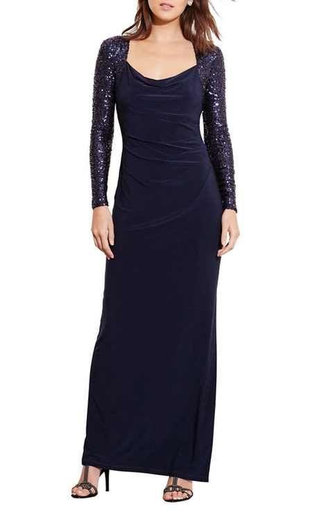 Lauren Ralph Lauren Sequin Sleeve Jersey Column Gown (Regular ...