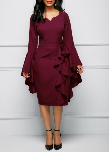 e2694643c2d6 Bowknot Embellished Flare Sleeve Flouncing Dress Bowknot Embellished Flare  Sleeve Flouncing Dress