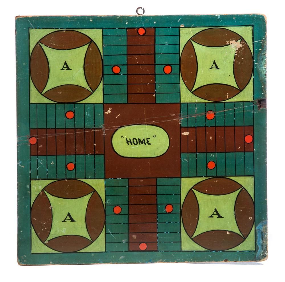 DOUBLE SIDED GAMEBOARD. Antique folk art, Double sided