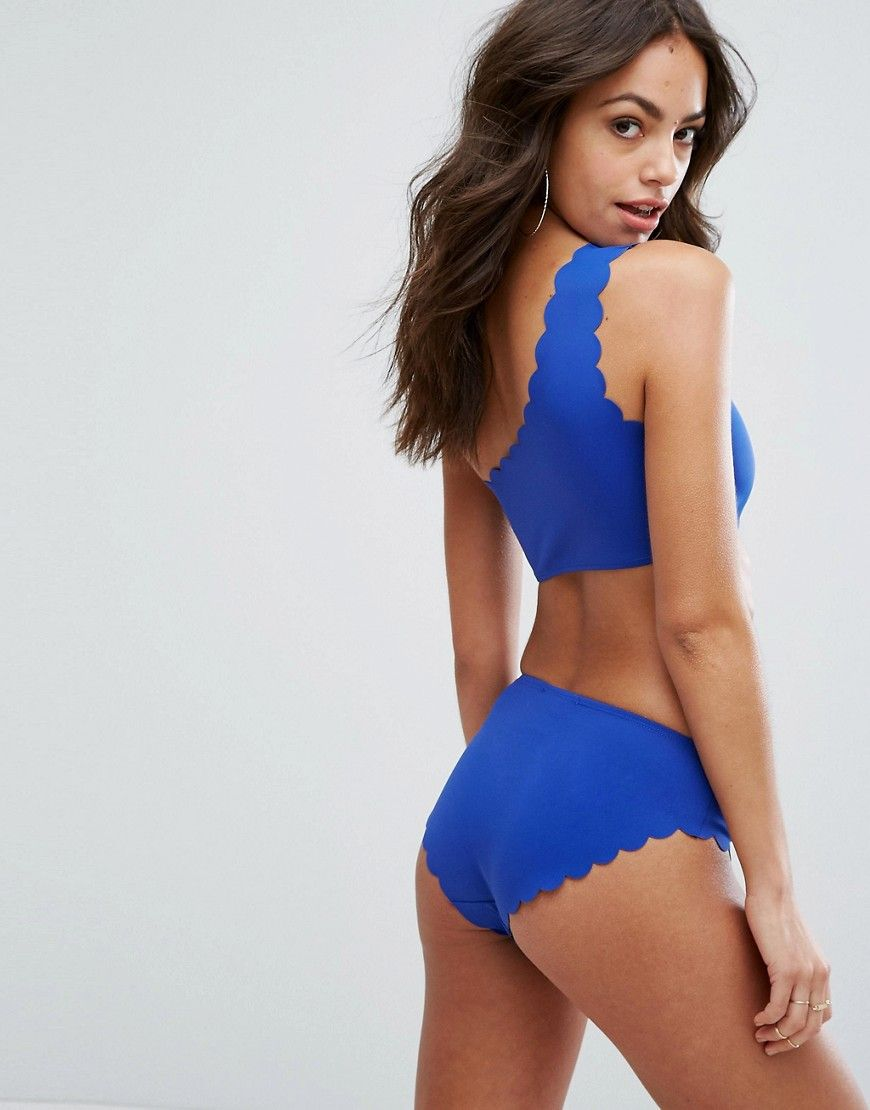 73aa20621ac Missguided Scallop Edge One Shoulder Bikini Top - Blue | Going for a ...
