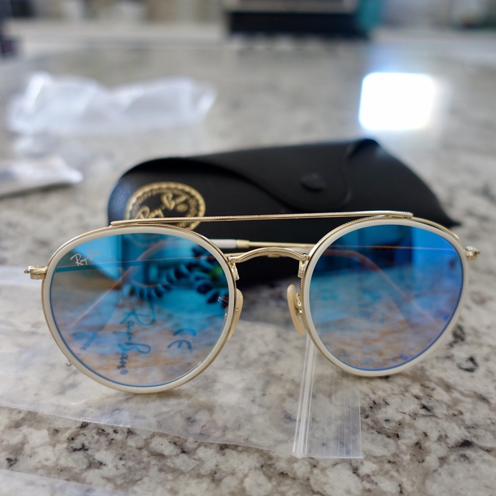 b8e567be49f5 RB3647N 001 4O 51-23 Blue Gradient Flash Ray-Ban Round Double Bridge  Sunglasses