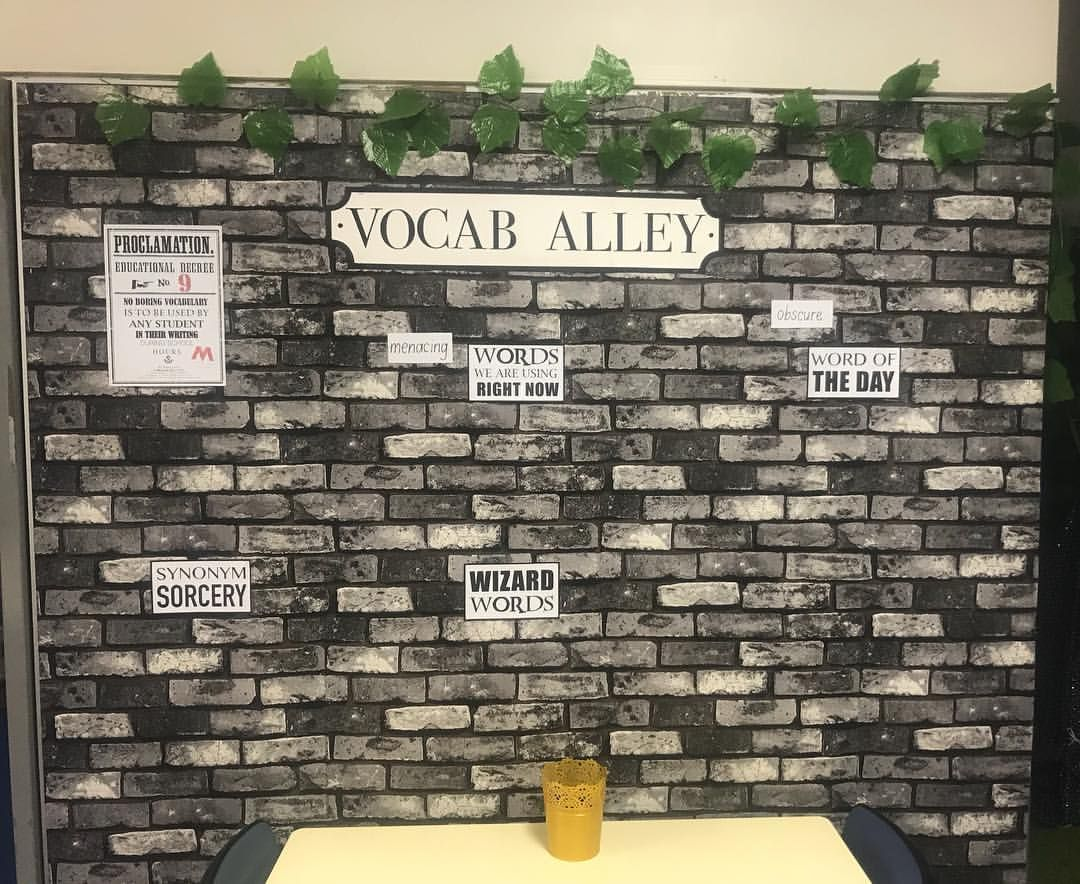 Hey Miss Do You Know Vocab Alley Sounds Kind Of Like Vocabulary Yes Yes I Do There Harry Potter Classroom Harry Potter Display Harry Potter School