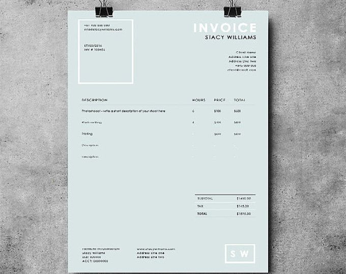 Invoice template Receipt template Invoice instant download - ms word template invoice