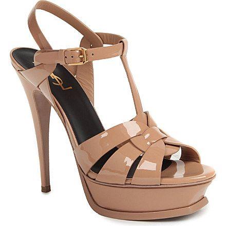 SAINT LAURENT Tribute patent leather platform sandals (Nude