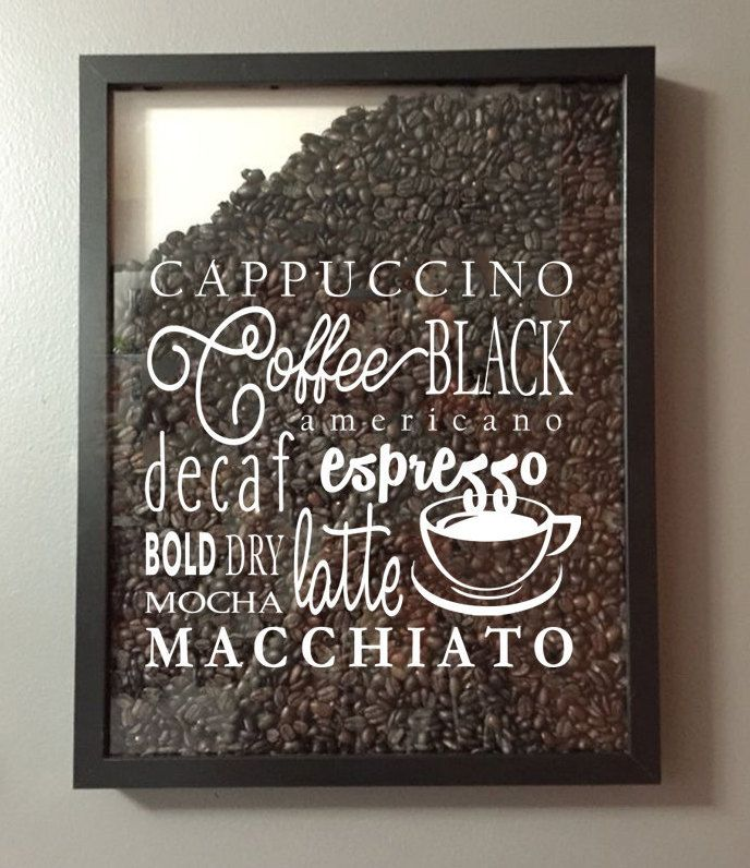Coffee Lover Coffee Collage Vinyl Sticker Decal – for Shadow boxes and more – Wall Quote