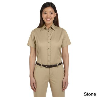6aa9f3b5 Harriton Women's Easy Blend Short Sleeve Twill Shirt with Stain-Release  (2XL,Stone), Beige