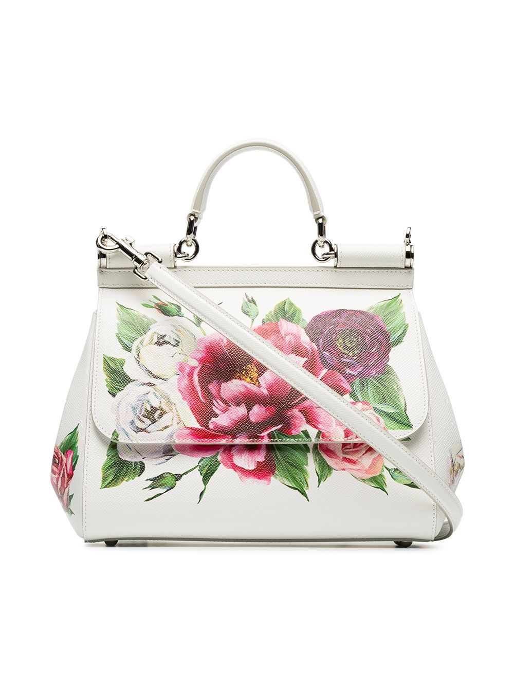15e11d9a0 Dolce & Gabbana white, red and green sicily rose print leather handbag