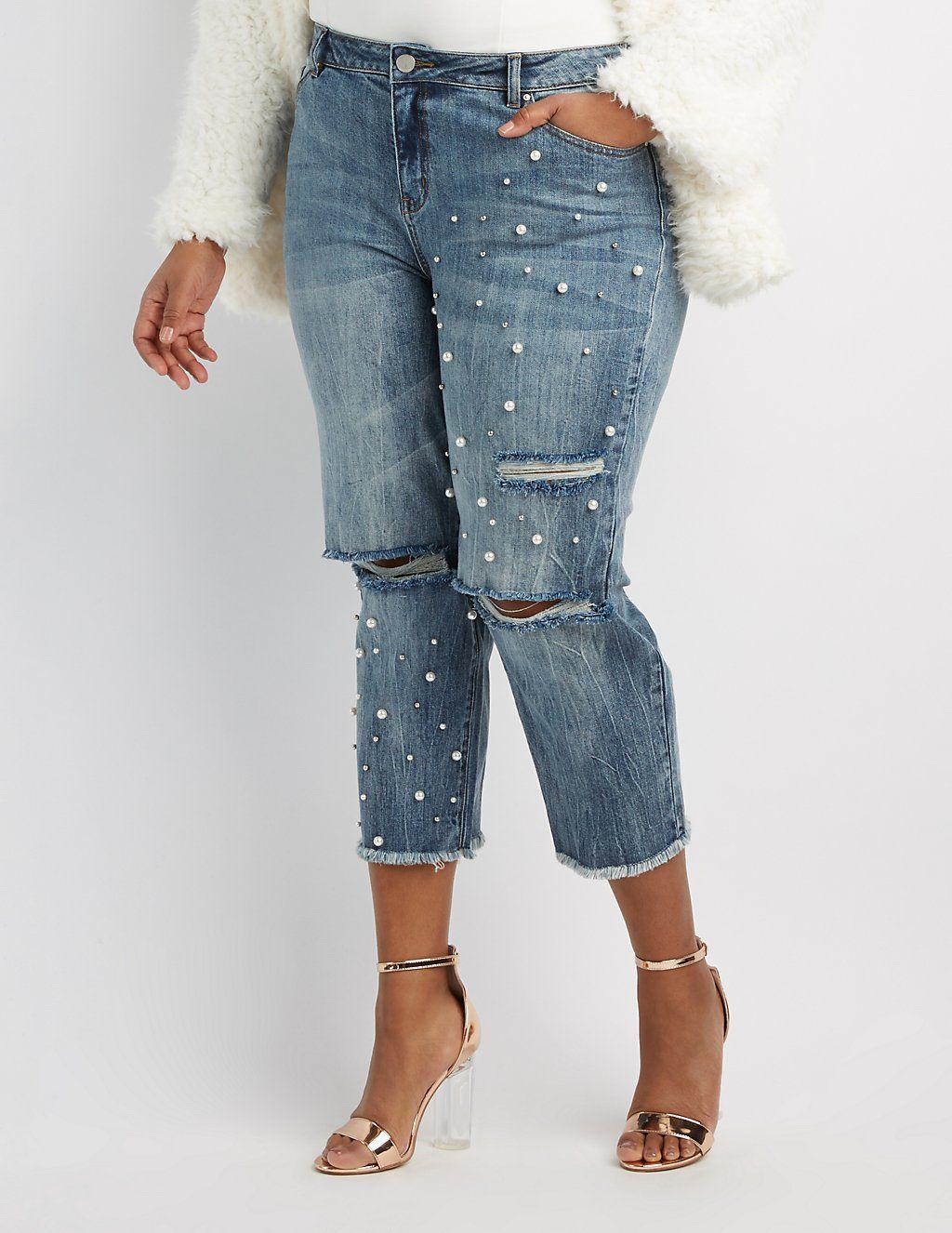 29ab88bdd20ab Charlotte Russe  Refuge Destroyed Pearl Applique Crop Jeans