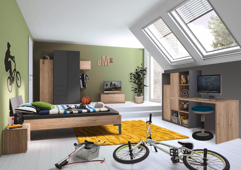 jugendzimmer in anthrazit und eichefarben die angesagte. Black Bedroom Furniture Sets. Home Design Ideas