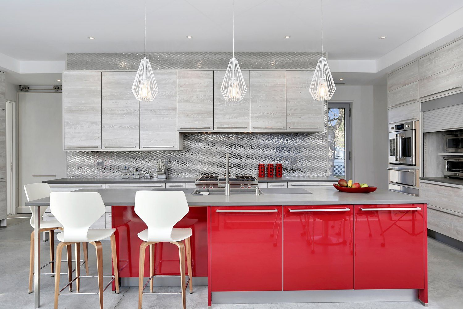 Modern Kitchen With Cherry Red Cabinet Island Pacific Grey Quartzite Top Mosaic Tile Back Splash And Hanging Kitchen Design Red Kitchen Red Kitchen Cabinets