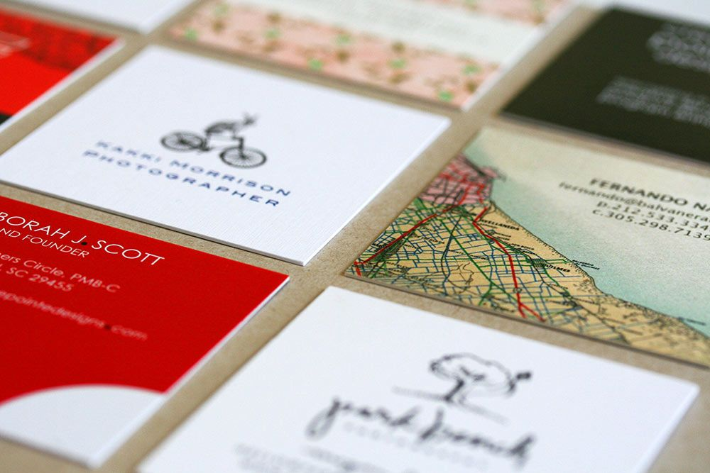 Collection of some of our first thick square business cards printed these cards were all