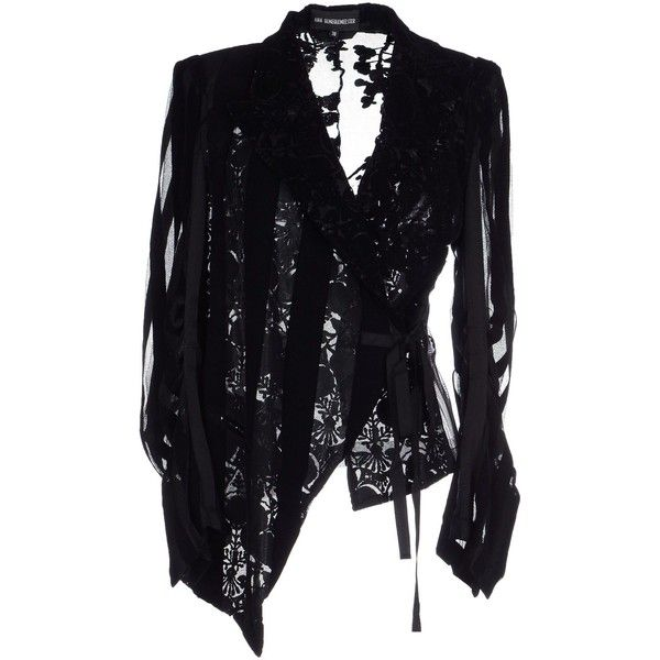 Ann Demeulemeester Blazer ($515) ❤ liked on Polyvore featuring outerwear, jackets, blazers, black, velvet blazer, velvet blazers, ann demeulemeester jacket, single breasted jacket and blazer jacket