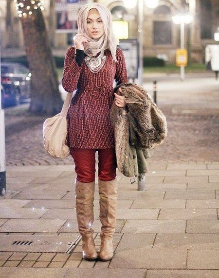 Dress Hijab Dan Sepatu Boot Bikin Kamu Tambah Modis Model