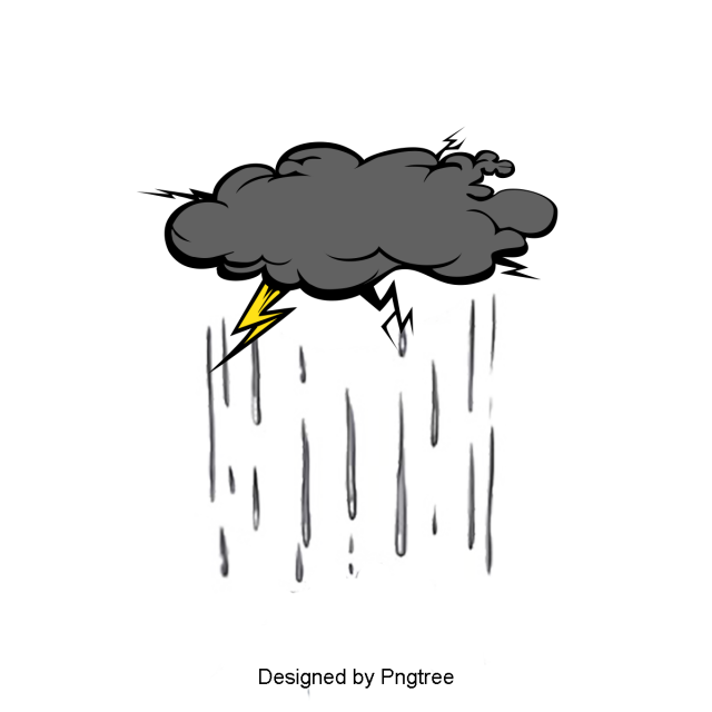 Beautiful Cool Cartoon Hand Painted Summer Weather Rain Clouds Water Droplets Raindrops Lightning Cartoons Png Cool Cartoons Water Droplets