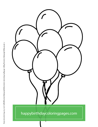 free birthday balloon coloring pages - photo#4