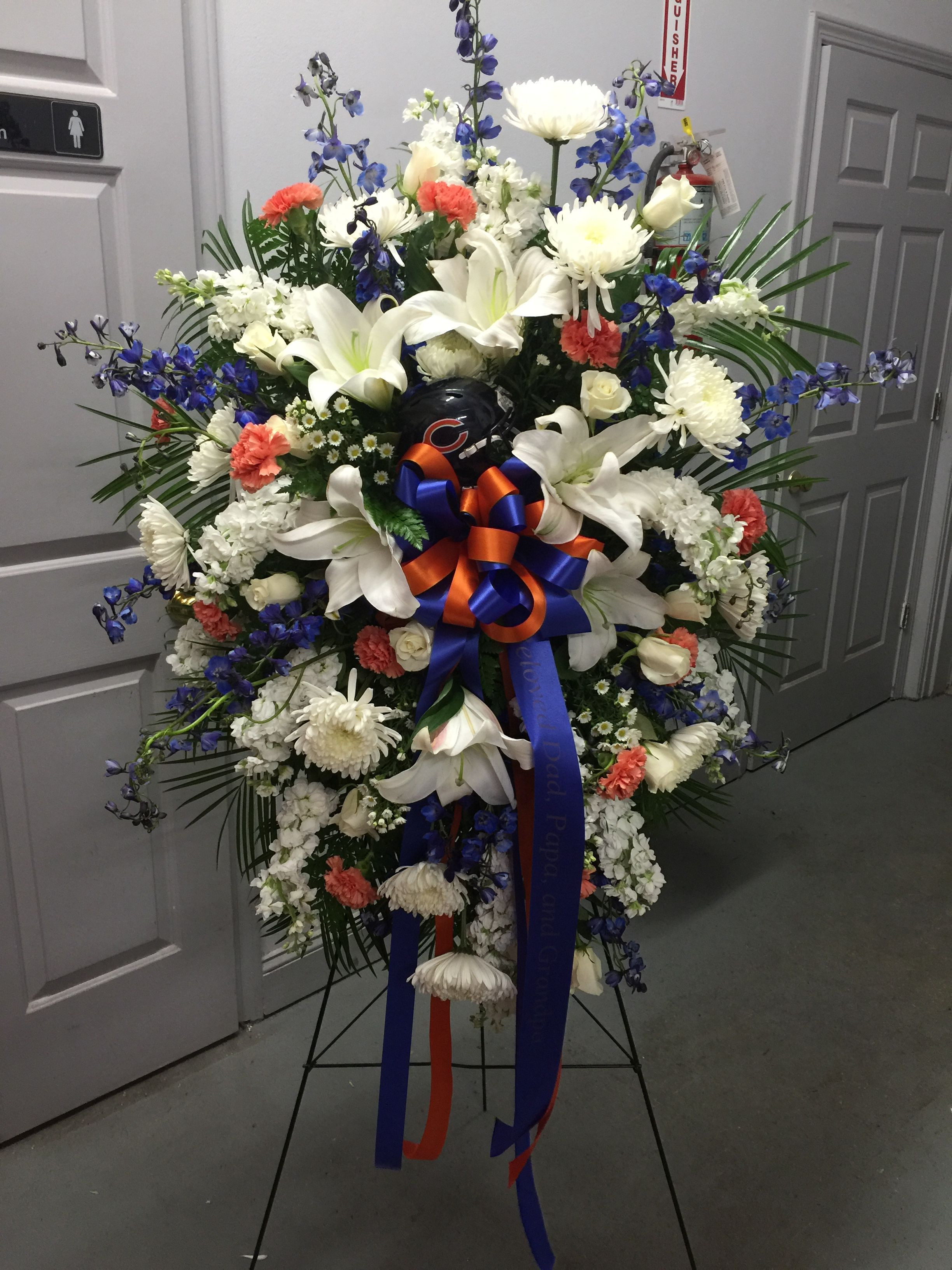 Chicago bears standing spray funeral floral pinterest chicago bears standing spray izmirmasajfo