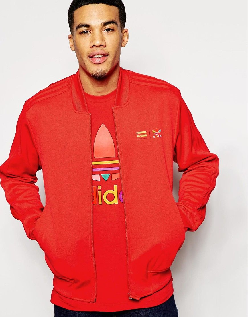 9f1683e7059d5 Lovin  this bold red adidas Originals X Pharrell Williams Track Jacket!  Would work well with both an all white or all black get-up!