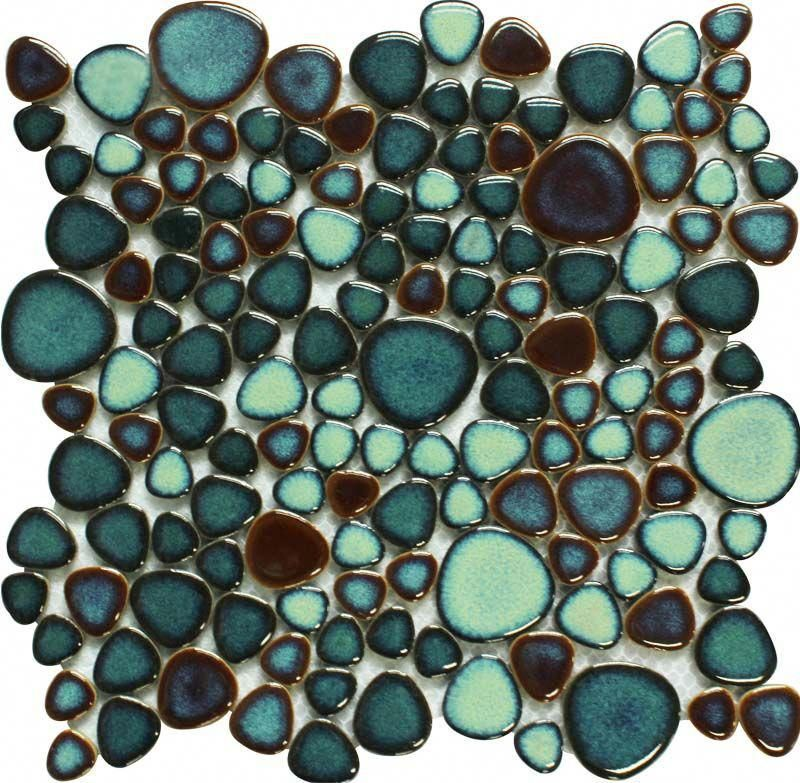 glazed porcelain pebble tile green kitchen backsplash cheap ceramic mosaic heart...#backsplash #ceramic #cheap #glazed #green #heart #kitchen #mosaic #pebble #porcelain #tile