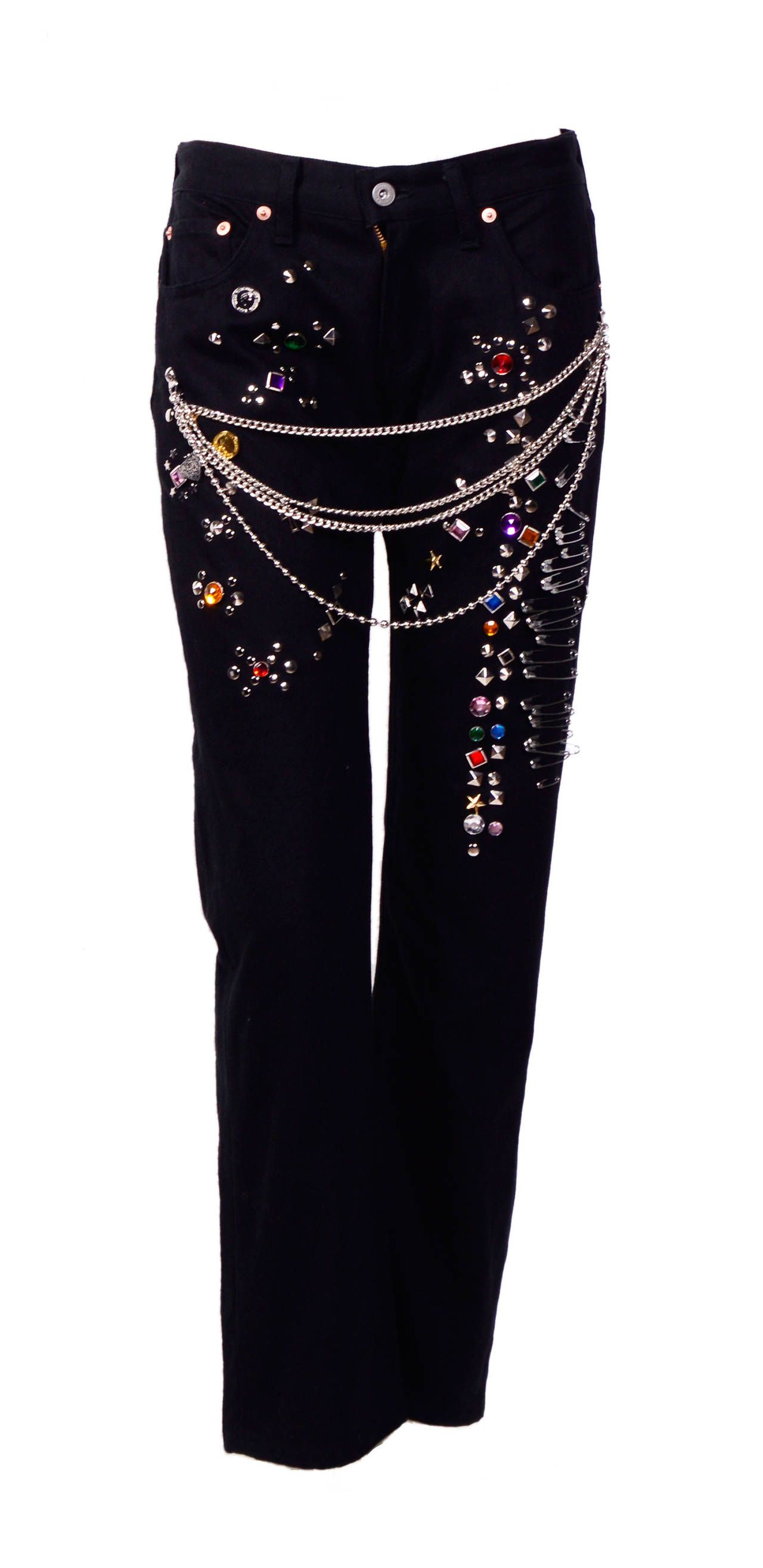 88e71632ca Comme Des Garcons Junya Watanabe Rhinestone Embellishments Black Denim Jeans  | From a collection of rare