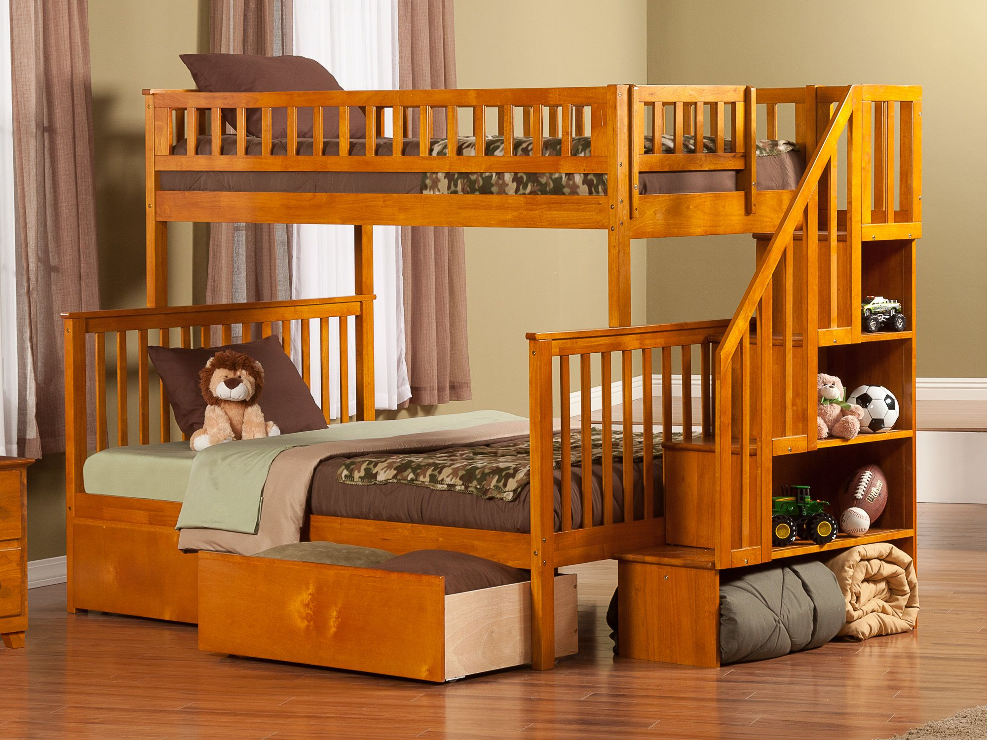 Twin over full loft bed with stairs  Shyann Twin over Full Bunk Bed with Storage  Products  Pinterest