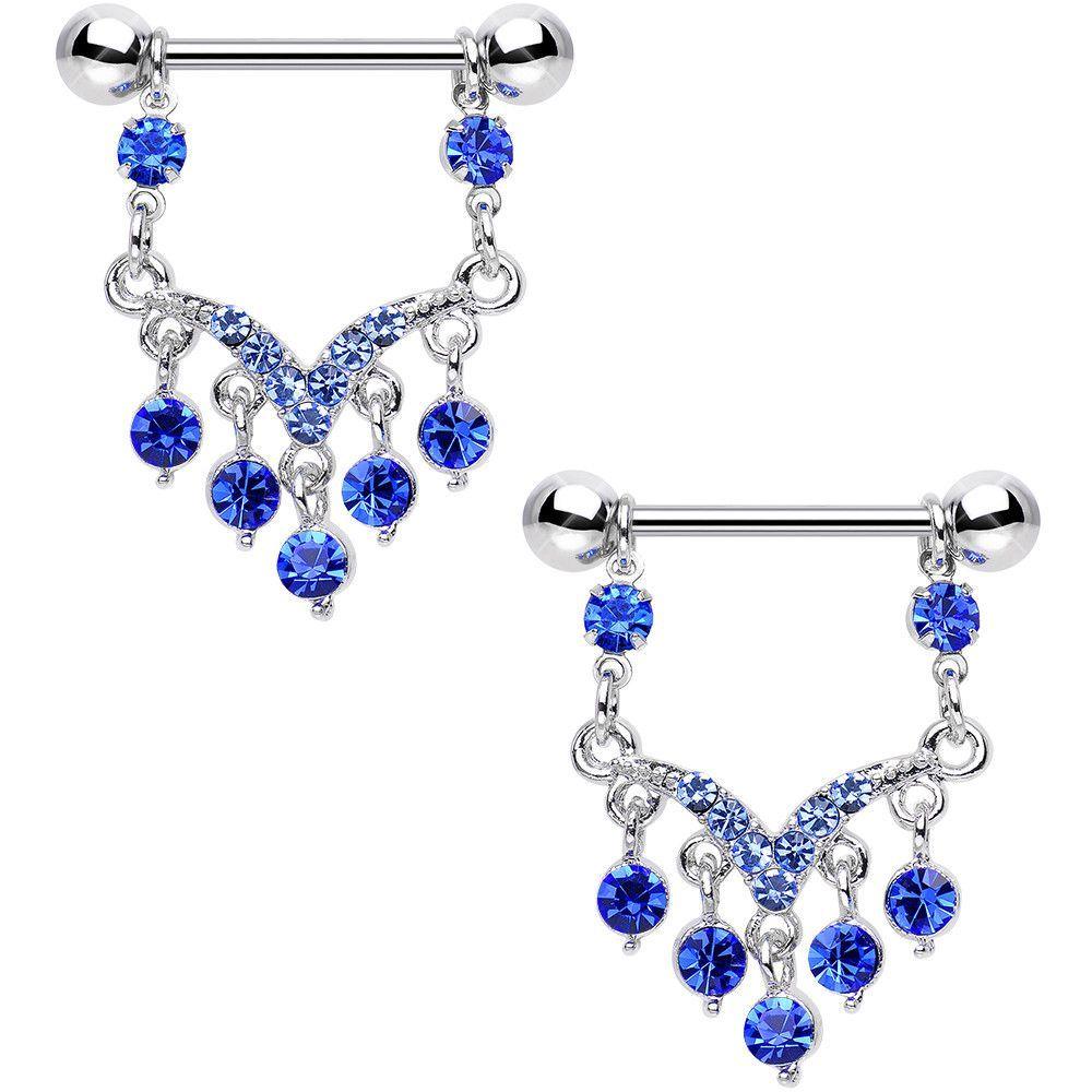 Blue Aqua Gem Victorian Vision Dangle Nipple Ring Set