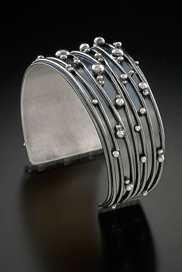 Cuff | Delias Thompson. 'Twilight'. Sterling silver and patina.