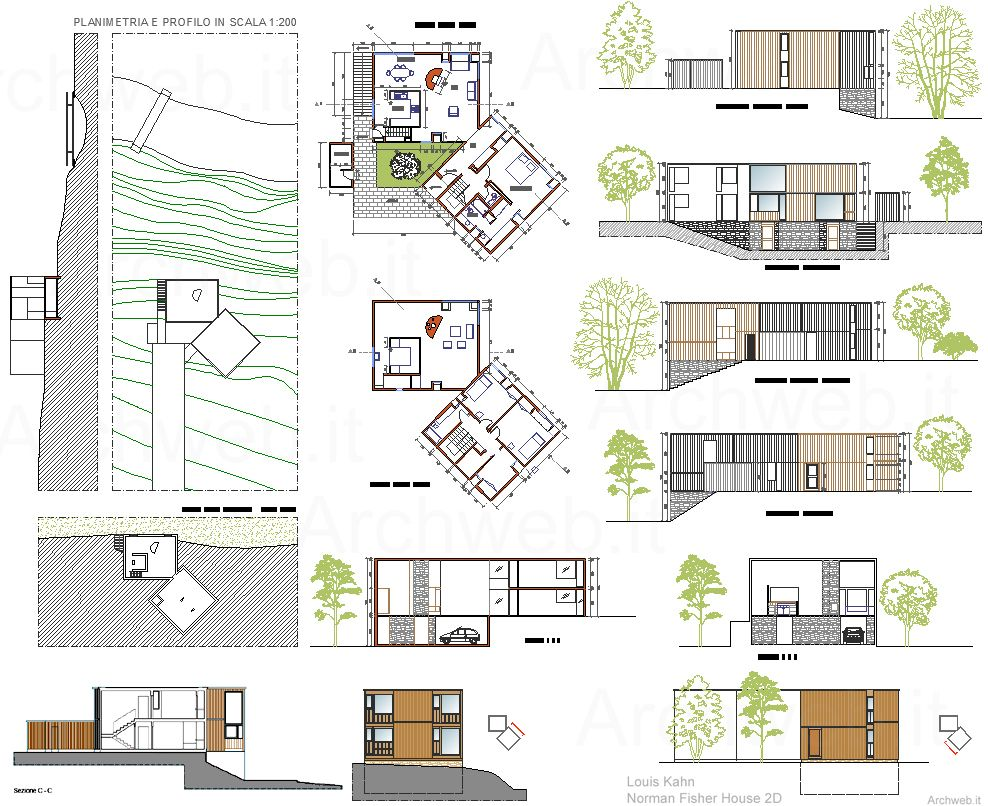 Norman fisher house dwg drawings architetture famose for Piani casa pa