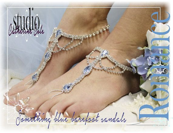 SOMETHING BLUE Rhinestone Silver Barefoot Sandals Wedding Shoes Bridal Bridesmaid Beach Shoe On Luulla