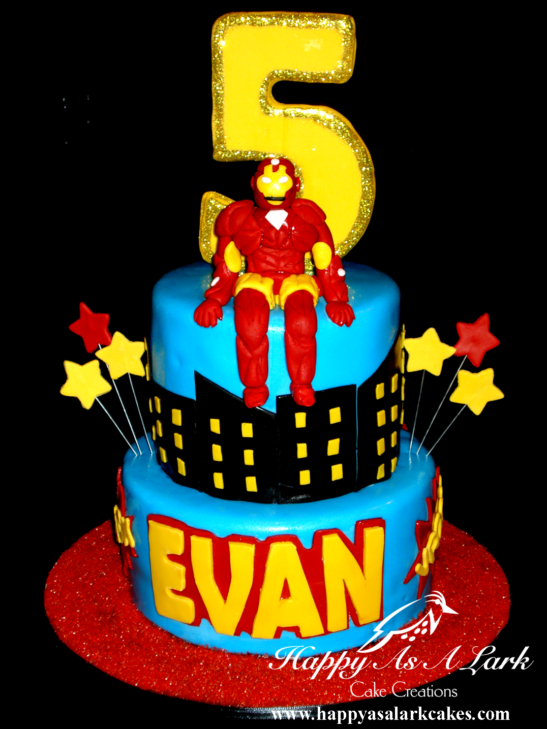 I find it ironic I was looking for Iron Man cake ideas for Evans