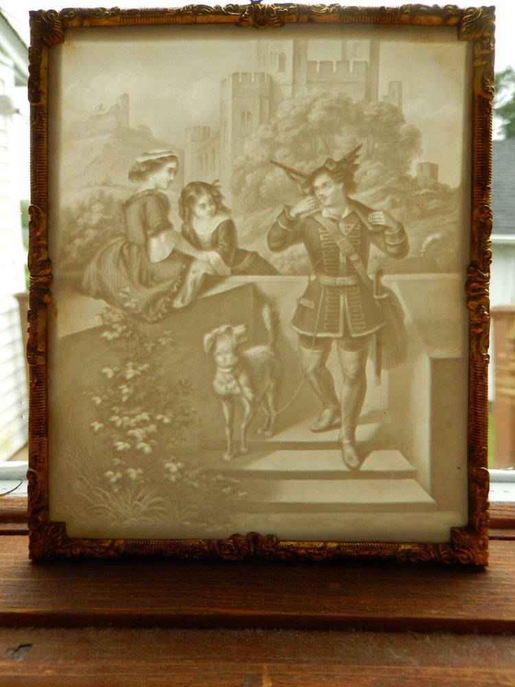 Antique PPM 760 Lithopane Panel in Narrow Gold Tone Frame dated 1868