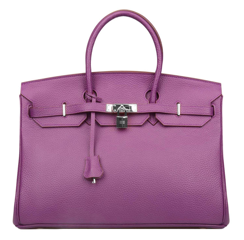 190e0beb98 Ainifeel Women s Padlock Genuine leather 40CM Handbags (40cm(Silver hardware)