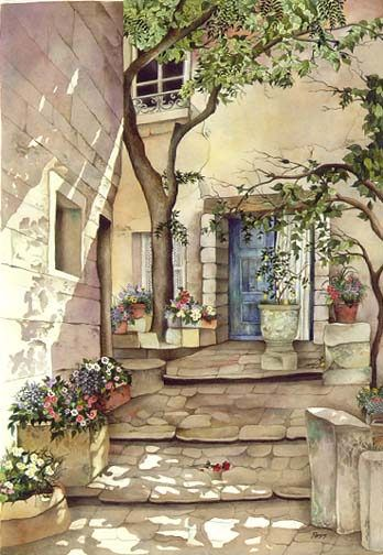Pomm - COURTYARD ROMANCE -  LIMITED EDITION PRINT  Published by the Greenwich Workshop