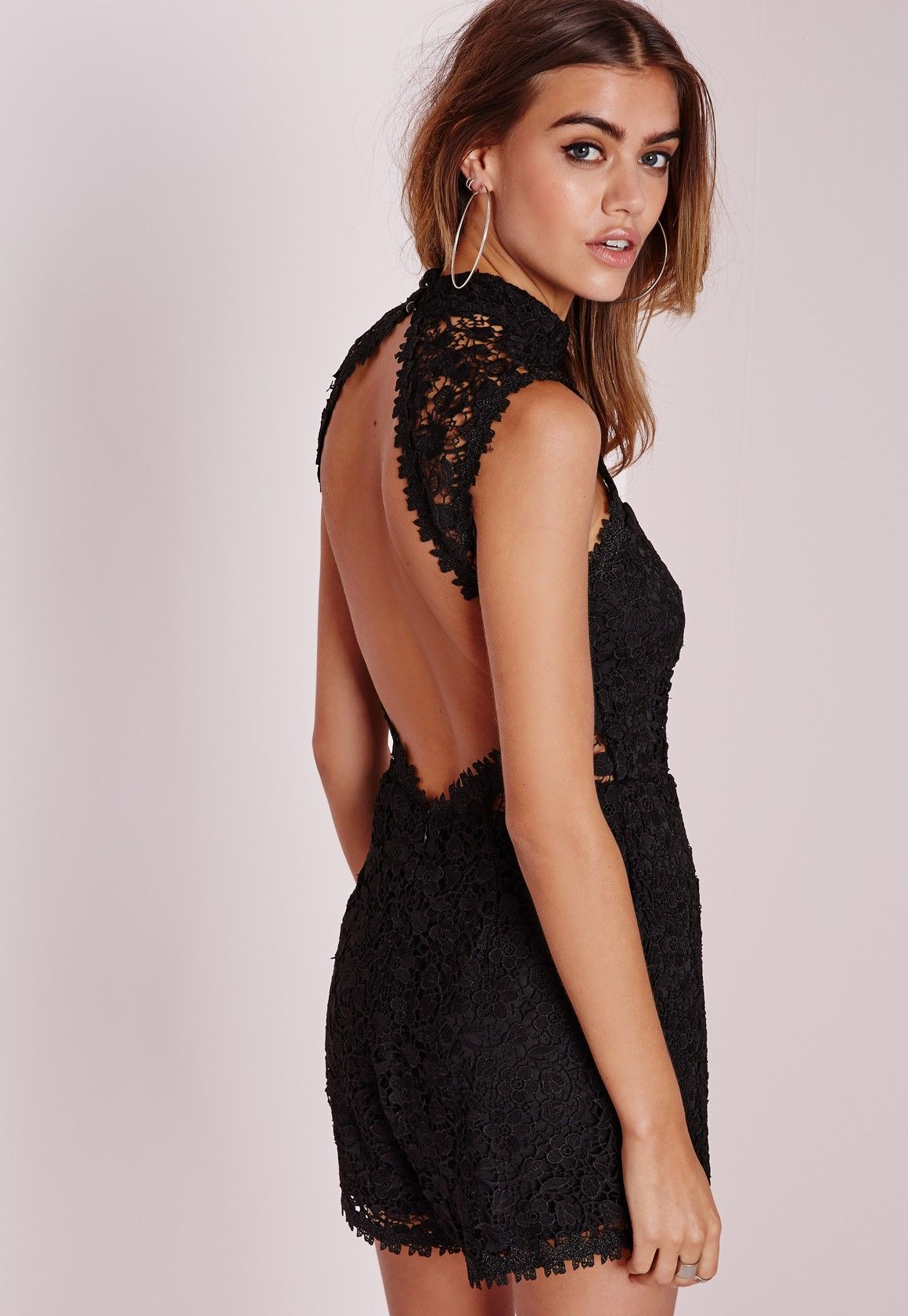 17e2e78a78 Missguided - Scallop Lace High Neck Playsuit Black