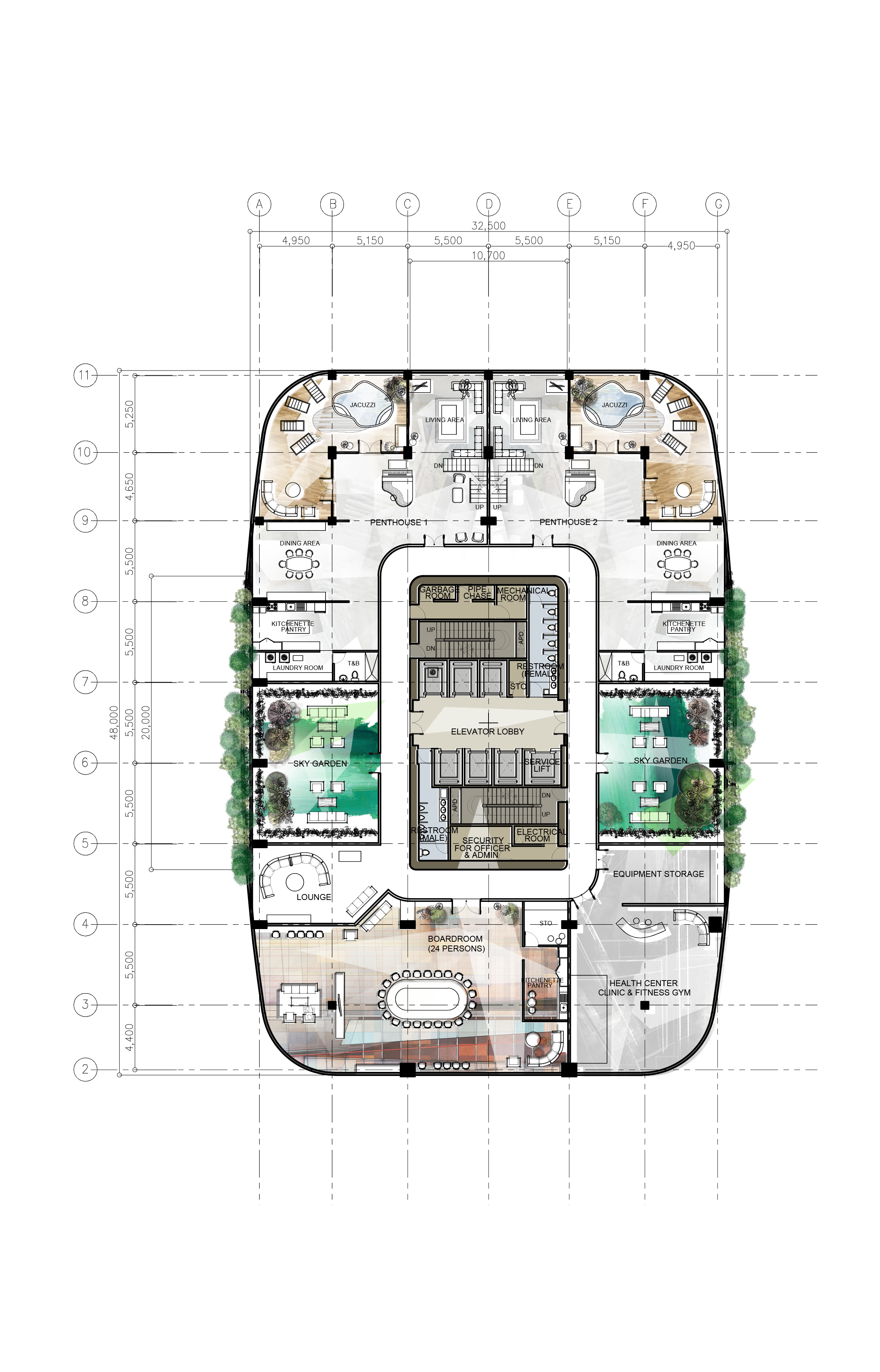 Architectural Penthouse Corporate Proposed Building Highrise Layouts Design Office Plates Office Building Plans Office Floor Plan Office Layout Plan