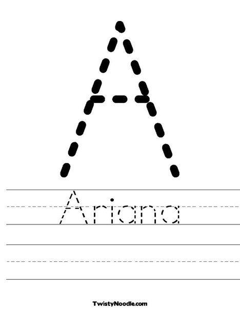 Ariana Worksheet Learning To Write Preschool Names Preschool Worksheets Free name tracing worksheets for